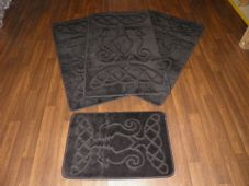 Plain Oblong Non Slip Washable Romany Traveller/Gypsy Mat Set 4Pc Seahorse Black All Colours Available